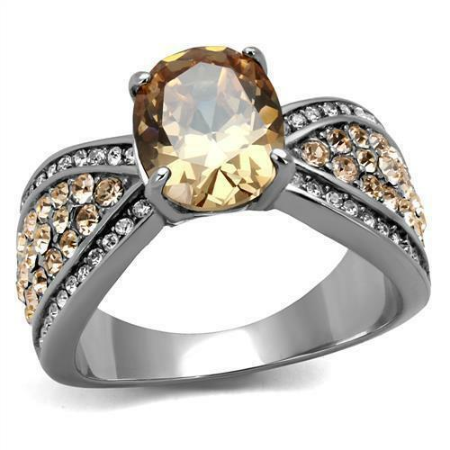 Stainless  Steel Oval Orange Champagne Topaz cz  Wedding  Cocktail Promise Ring