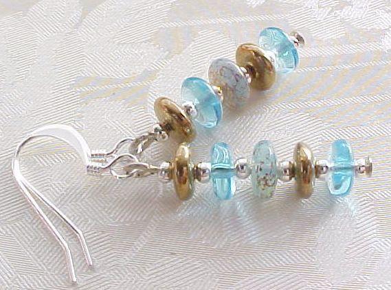 Beach Glass Earrings Minimalist Aqua Blue Gold Sand & Sea Disc Stack Retro Gifts