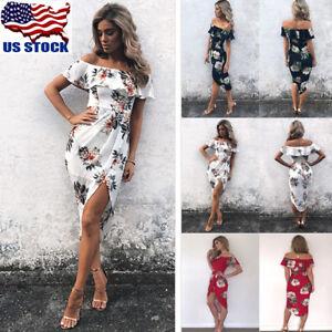 39374c58fd US Women Summer Off Shoulder Ruffle Dress Floral Print Maxi Beach ...