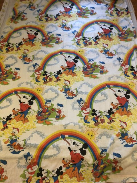 Vintage Disney Mickey Mouse Twin Size Flat Bed Sheet Rare