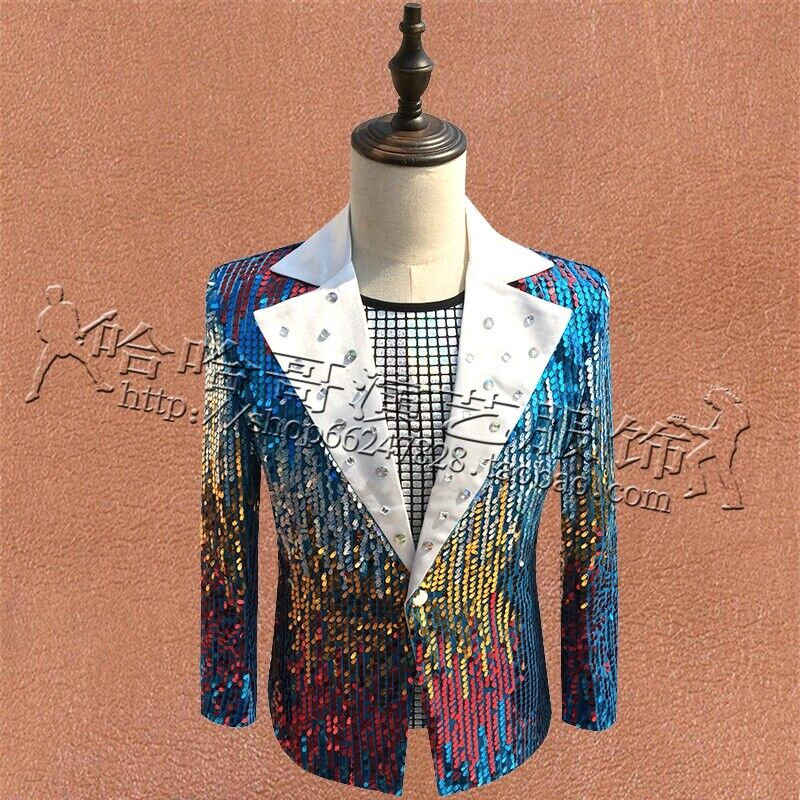 Elegante Chaqueta De Abrigo Para Hombre Calce Ajustado  Lentejuelas un botón Prendas para club nocturno Disfraz Chaquetas Talla  vendiendo bien en todo el mundo