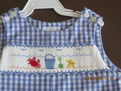 Boys VIVE LA FETE blue smocked nautical anchor romper 12 18 months 2T NWT beach
