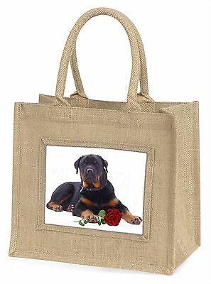 Rottweiler Hund mit einer roten Rose Große Natürliche Jute-einkaufstasche Chris,