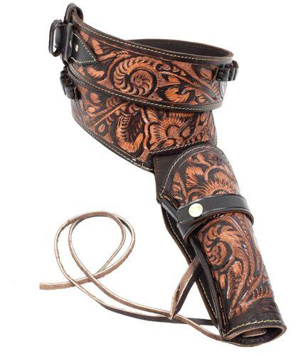 Western Leather Holster Gun Belt 44 45 Brown Hand Made Cowboy Revolver Pistol