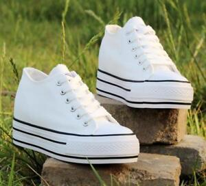 be4b16ed9eeb Women s Chic Canvas Lace Up Wedge Heels Sneakers Platform Creeper ...