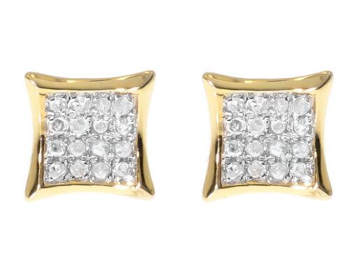 Mens Ladies Yellow Gold Finish Round Diamond 7mm Mini Kite Studs Earrings 1//8ct