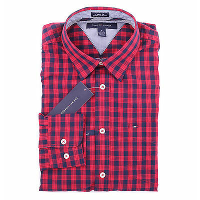 Tommy Hilfiger Men Long Sleeve Button Down Plaid Custom fit Casual Shirt $0 Ship