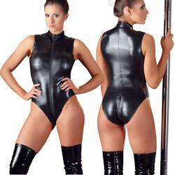 Cottelli Collection Wetlook Zip-Body Catsuit Overall schwarz Dessous S M L XL