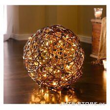 Große LED Deko-Kugel aus Naturweide auf Metallrahmen Lichtkugel Tischlampe Licht
