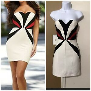 dd97781fce22 Details about VENUS Sz 2 White Black & Red Color Block Strapless Bodycon  Dress Back Zipper