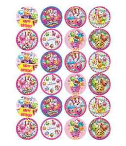 24 x Large Shopkins Edible Cupcake Toppers Birthday Party Cake