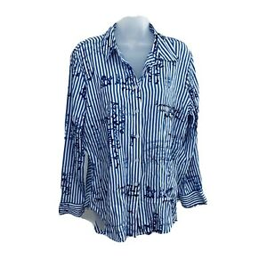Chicos-Top-Size-M-1-Button-up-Long-Sleeves-High-Low-Stripes-Tunic-Blue-NEW