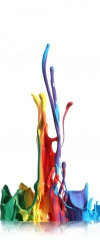 Farbklecks links Bunte Farben Abwegen bunt Wallario Poster in 50 x 125 cm