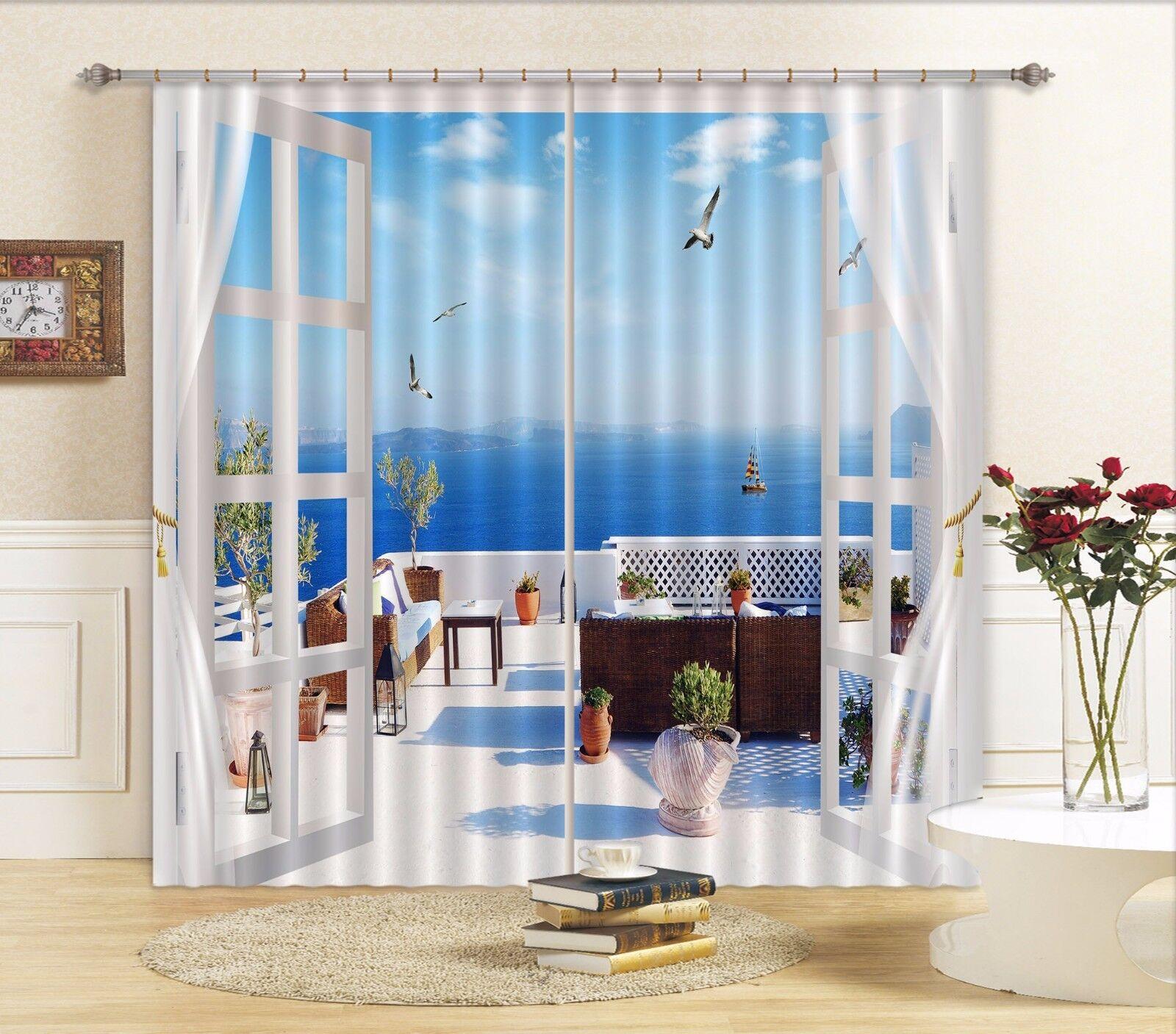 3D Cielo Azul 84 Cortinas de impresión de cortina de foto Blockout Tela Cortinas Ventana au