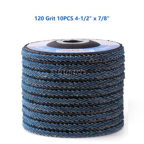 "10PCS 4-1//2/"" x 7//8/'/' Flap Disc Zirconia 120 Grit Abrasive Sanding Grinding Wheel"