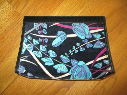 Vintage Emilio Pucci Black Blue Floral Velvet Clut