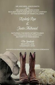 Details About Wedding Invitations Cowboy Boots Personalized 50 Rsvp Cards