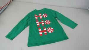 CWD-Kids-Christmas-Shirt-Top-Green-w-Peppermints-Ho-Ho-Ho-Boys-Size-6-7-EUC-TL35