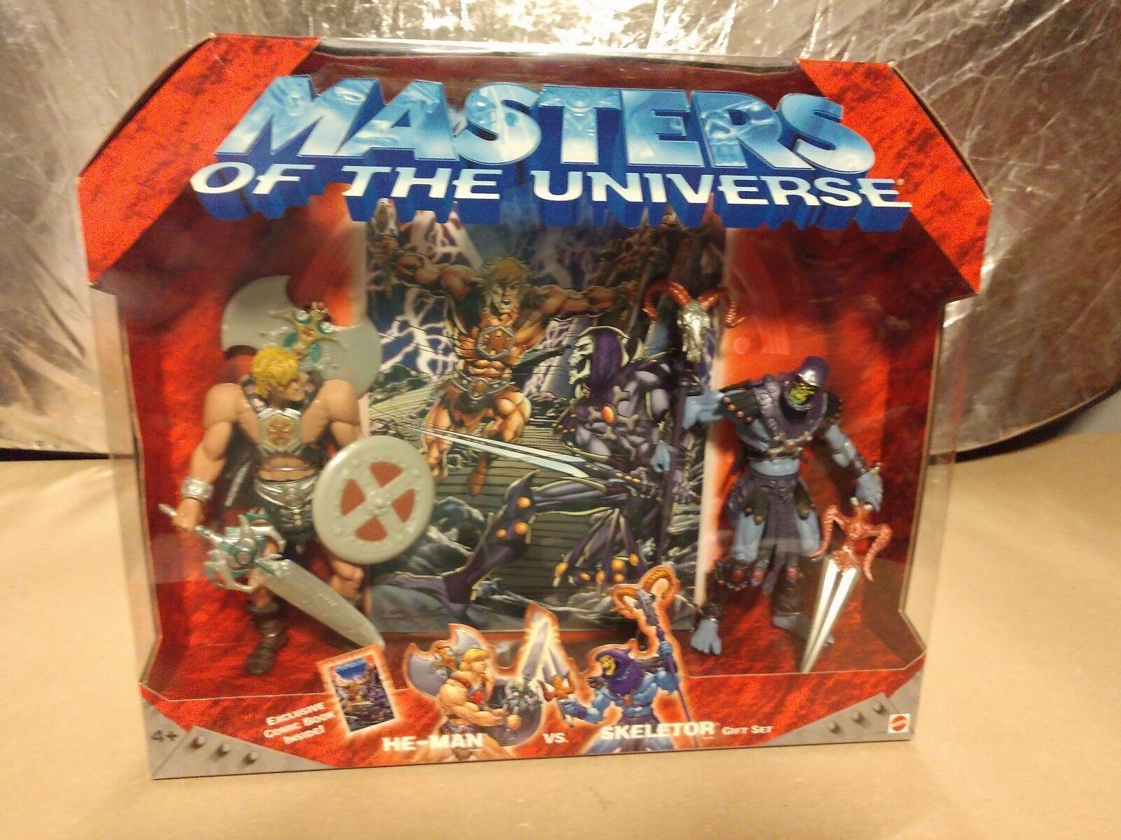 2002 Masters of the Universe He-Man vs Skeletor Mattel w/comic, NEW never opened