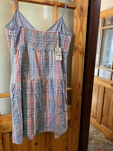 fat face Kuta Pleated Check Dress 16 New With Tags RRP £45