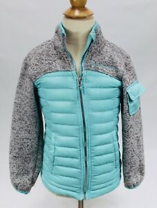 FREE-COUNTRY-HYBRID-JACKET-DOWN-amp-KNIT-COAT-Teal-gray-GIRLS-Size-XS-5-6-EUC