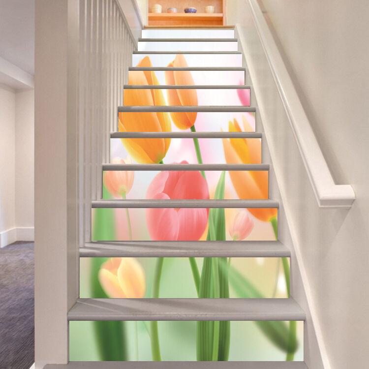 3D Lange Tulpe 534 Stair Risers Dekoration Fototapete Vinyl Aufkleber Tapete DE