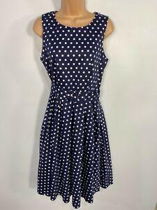 BNWT-Para-Mujer-Dolly-amp-Dotty-Azul-Lunares-Anos-50-Vintage-Rockabilly-Swing-Dress-Reino-Unido-12