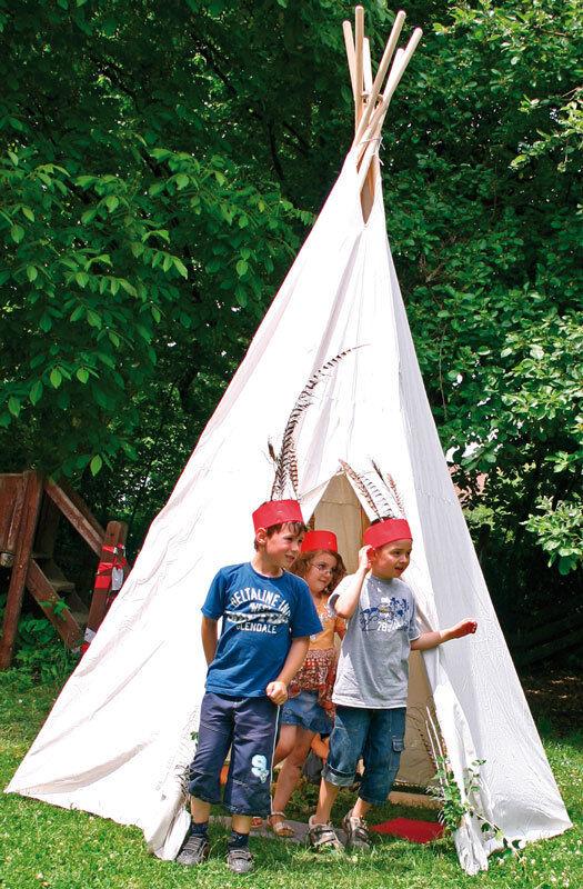 KINDER TIPI GROß Wigwam Kinderzelt INDIANER-ZELT mit Holz-Stangen 110-070