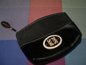 mejor lugar para al por mayor online los Angeles Detalles de bolso de mano loewe o neceser grande 25cm 18cm 20cm mitad piel  negro dorado