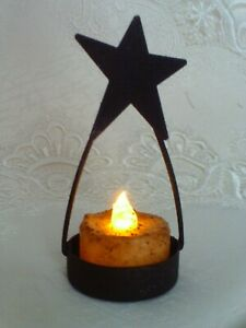 Star-Tea-Light-Holder-Burnt-Ivory-Candle-LED-Flickering-Grungy-Primitive-Crafts