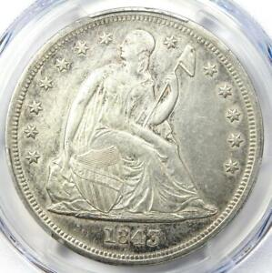 1843 Seated Liberty Silver Dollar $1 - PCGS AU Details - Rare Early Coin!