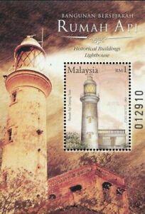 SJ-Historical-Buildings-Lighthouse-Malaysia-2004-Marine-miniature-sheet-MNH