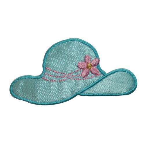 ID 7603 Blue Flower Sun Hat Patch Ladies Fashion Embroidered Iron On Applique