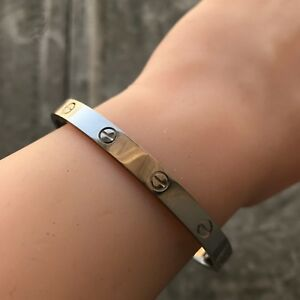 Details About Cartier Love Bracelet White Gold Size 19 New System