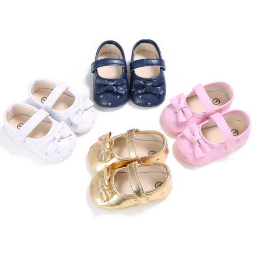 New Toddler Newborn Baby Girl Crib Shoes Leather Soft Christening Pram Prewalker