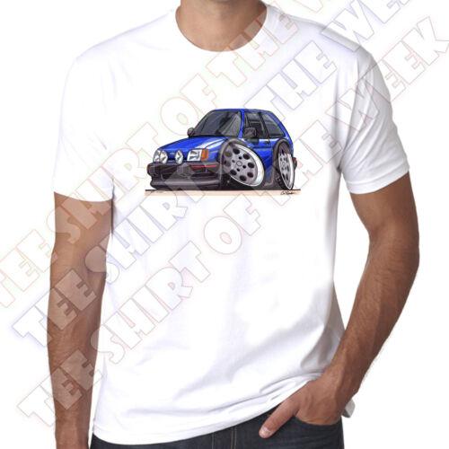 Wickedartz cartoon voiture bleu ford fiesta Mk2 XR2 homme 100/% coton t-shirt blanc
