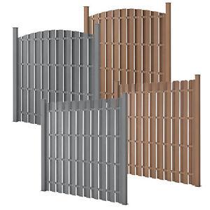 WPC-Gartenzaun-Sichtschutzzaun-Windschutz-Lamellenzaun-Zaun-180x180cm-Grau-Braun