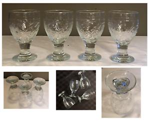 Vintage-Clear-Indiana-Glass-Goblets-Embossed-Leaves-Short-Stem-Set-of-4