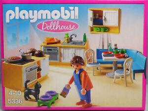 PLAYMOBIL-5336-Dollhouse-Kueche-Einbaukueche-mit-Sitzecke-Spuele-Herd-Geschirr-NEU