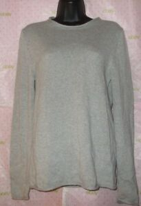 62-H-amp-M-XS-PEASANT-SEAM-SWEATER-BLOUSE-GRAY-SOFT-RIB-KNIT-top-NEW-PRO-CLEANED