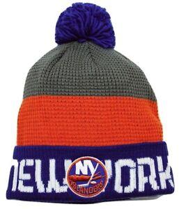 New York Islanders Reebok NHL Hockey Waffle Knit Pom Pom Winter Hat ... 564abb803e3