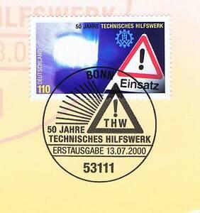 Industrieux Rfa 2000: Technique Action Humanitaire (thw) Nr 2125 Avec Bonner Cachet Spécial! 1a! 1511-afficher Le Titre D'origine
