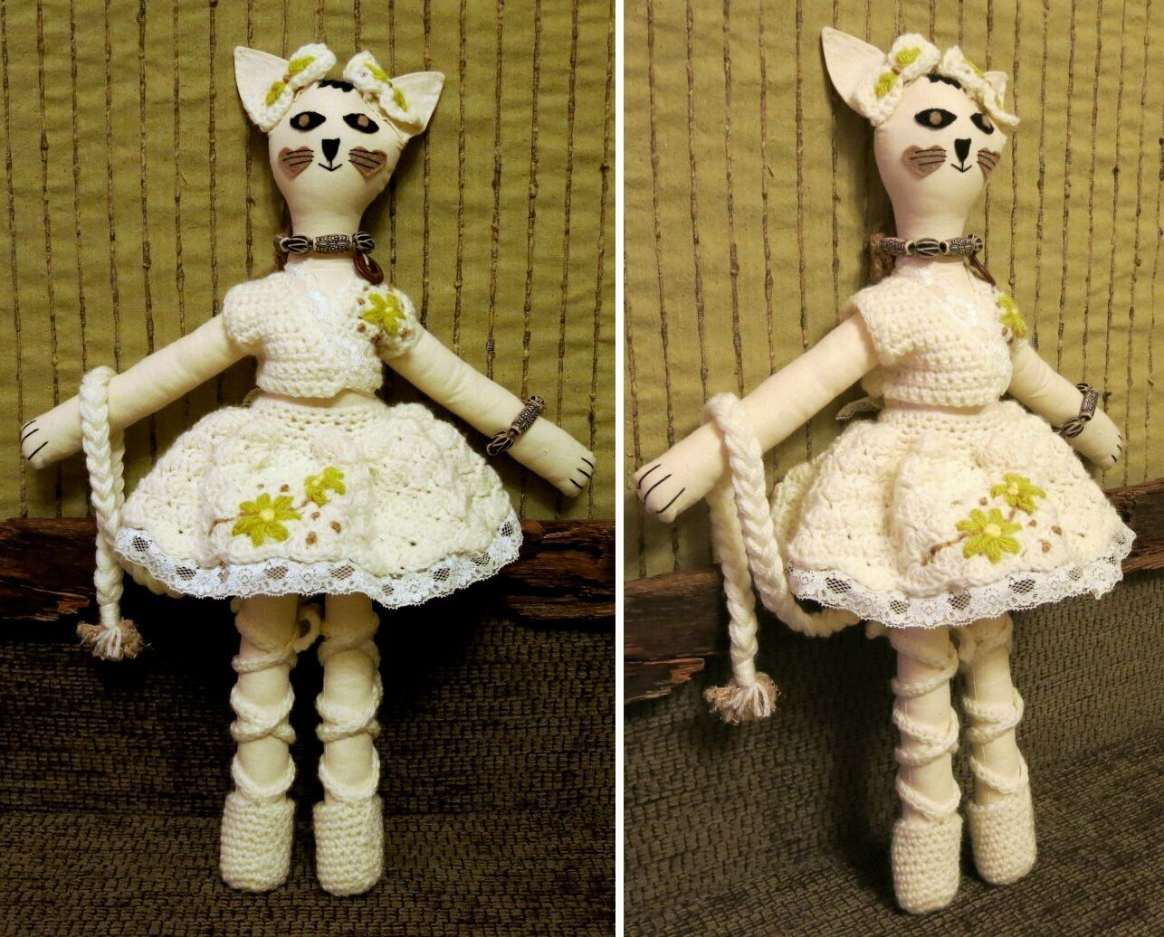 Collectable Cat Rag doll in Cream Skirt and Top, Soft Rabbit Cat Mouse
