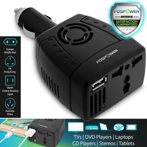 Car Charger Compact 150W Power Inverter 2 USB Port 12V DC 230V AC Adapter Hub