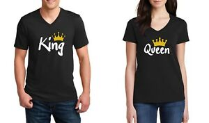V-neck-King-amp-Queen-2-Couple-Shirts-SET-Matching-T-Shirts-Valentine-039-s-Day-Tees
