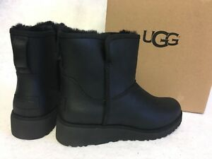 57b8a09b54a Details about UGG Australia KRISTIN Leather CLASSIC SLIM BLACK WEDGE ANKLE  BOOTS 1019640