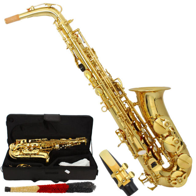Professional Alto Eb Saxophone Sax Gold w/ Case Mouthpiece & Accessories