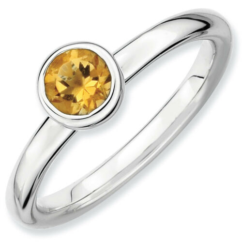 Sterling Silver Stackable Expressions 5 mm Citrine Rhodium-plated Ring QSK518