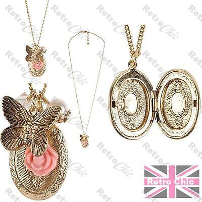 ANTIQUE GOLD PLT LOCKET pendant NECKLACE flower BUTTERFLY  vintage victorian sty
