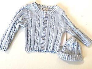 c6cfc3608c8a Quiltex Blue Cotton Cable Knit Sweater   Hat Set. NWT Retails  42 ...